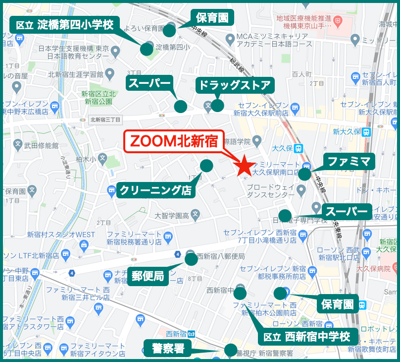 ZOOM北新宿の周辺施設