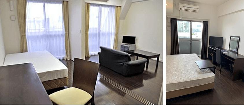 カスタリア新宿の家具家電つきの部屋