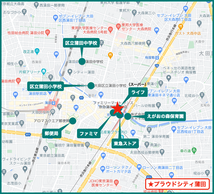 プラウドシティ蒲田の周辺施設