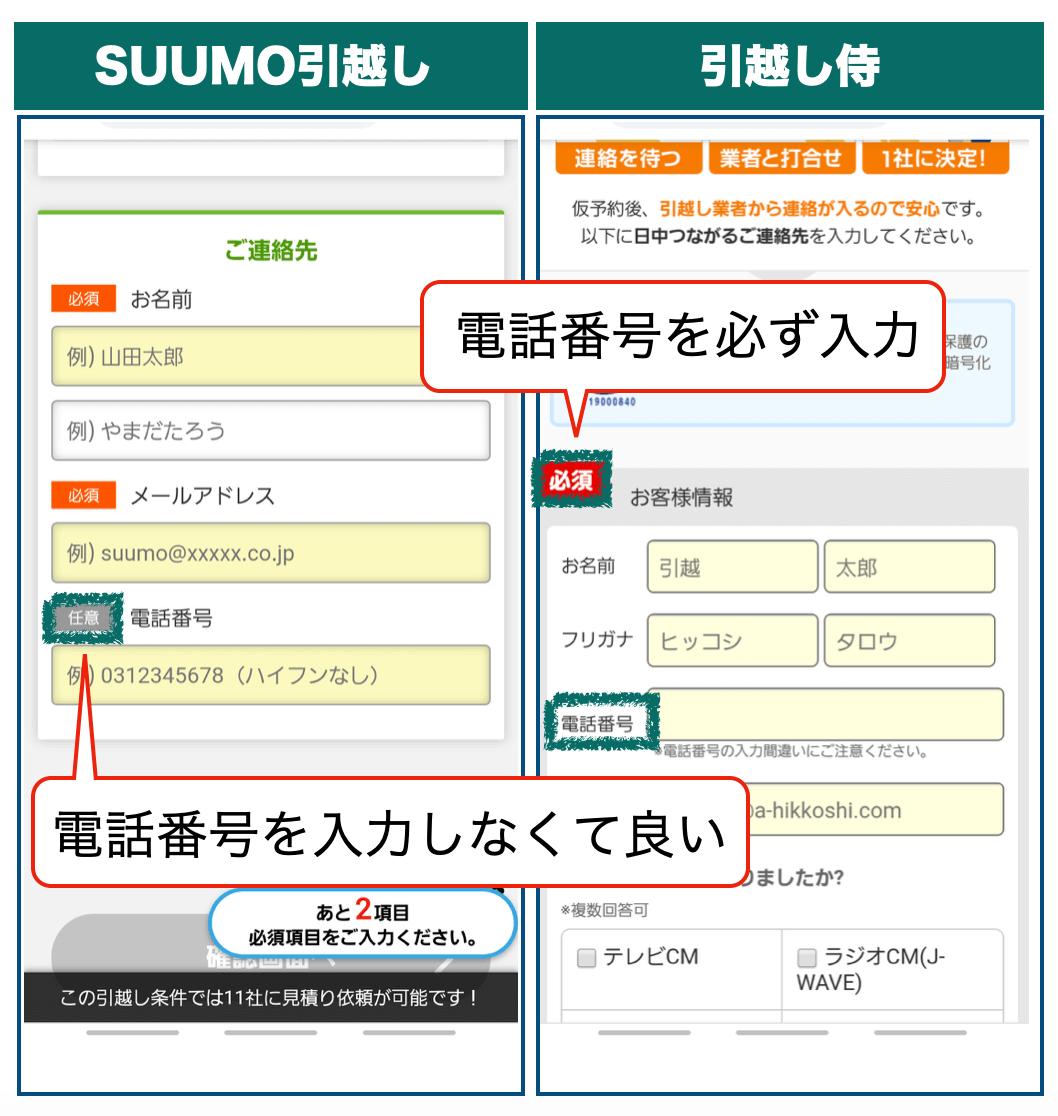 SUUMO引越しの個人情報入力画面