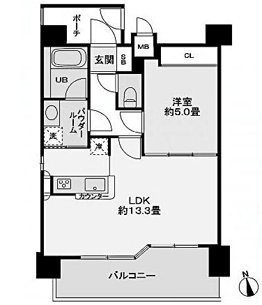 レジディア新宿御苑の間取り(1LDK )
