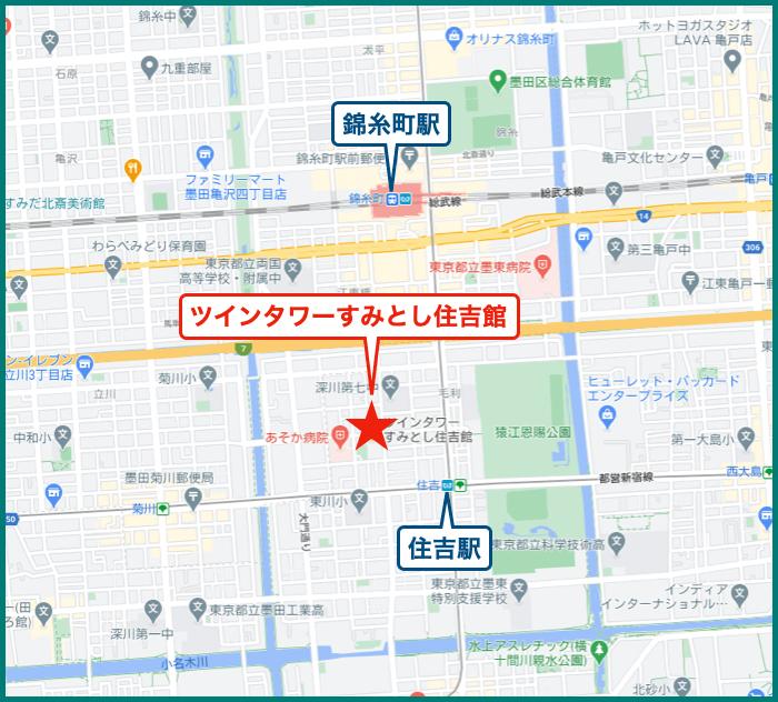 ツインタワーすみとし住吉館の地図