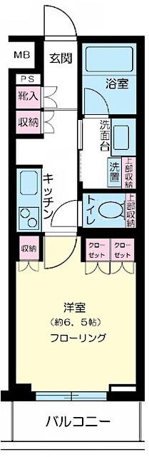 クオリア新宿余丁町の間取り(1K)