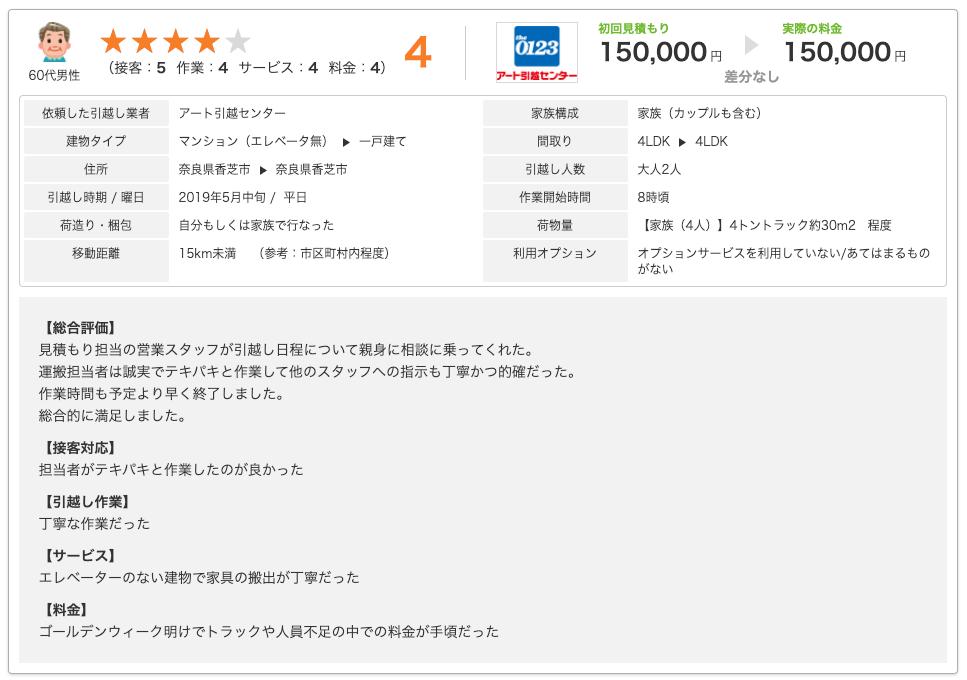 SUUMO引越しの口コミ画面