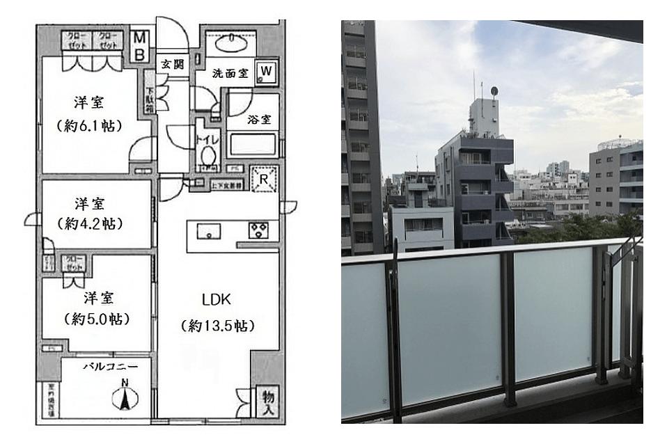 オープンレジデンシア神楽坂並木通りの間取り(3LDK)・眺望