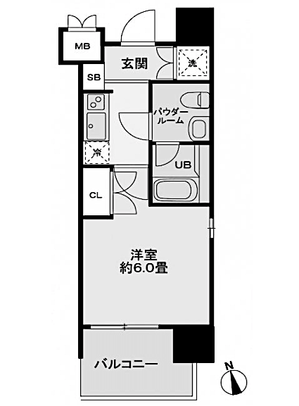レジディア新宿御苑の間取り(1K)