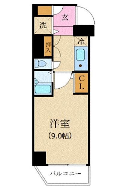 カスタリア新宿の間取り(1K)