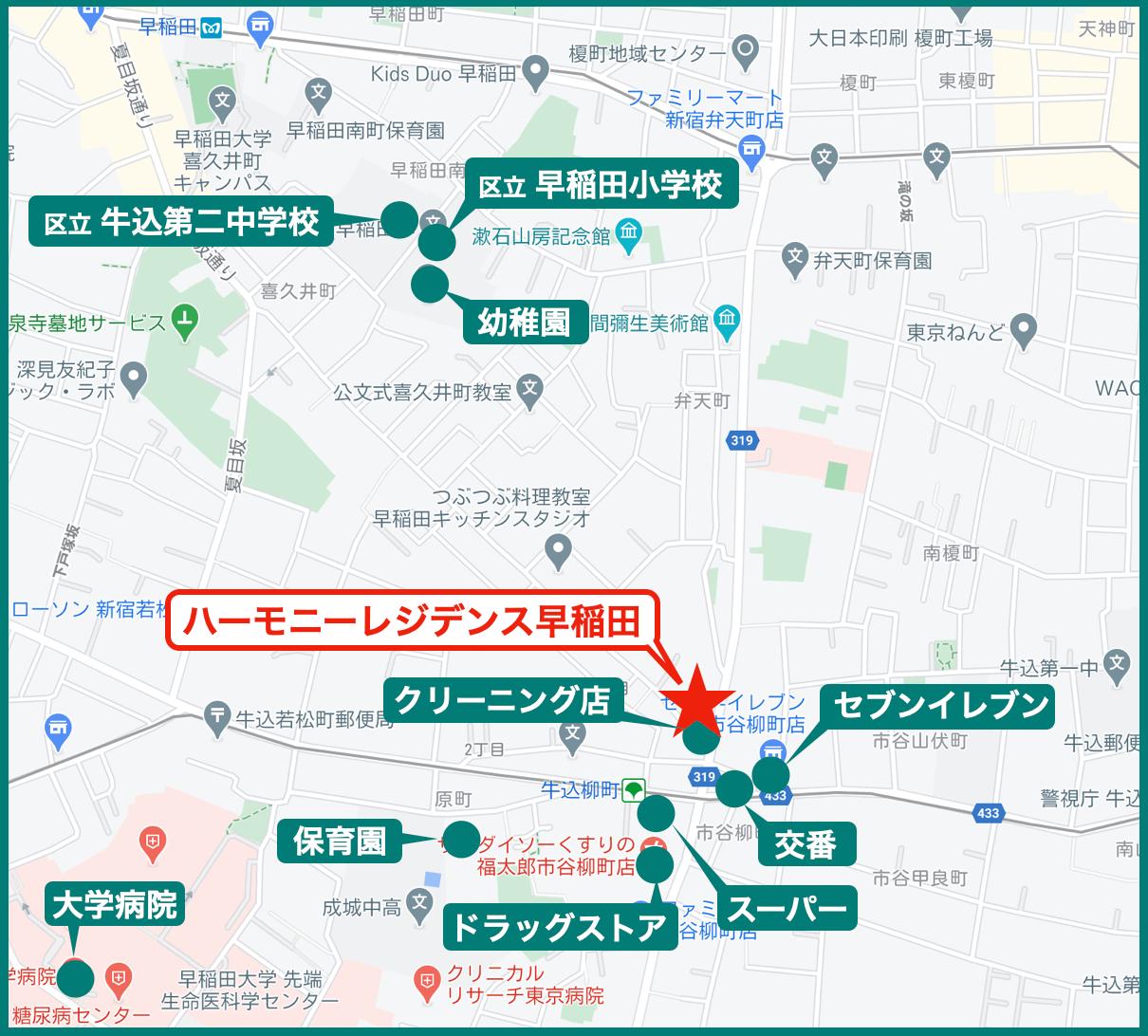 ハーモニーレジデンス早稲田の周辺施設