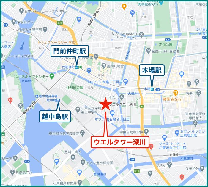 ウエルタワー深川の地図