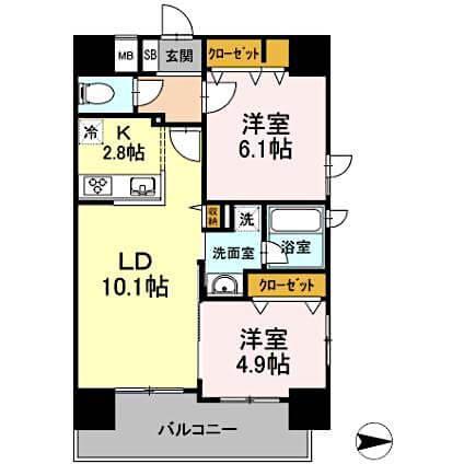 D-room早稲田の間取り(2LDK)