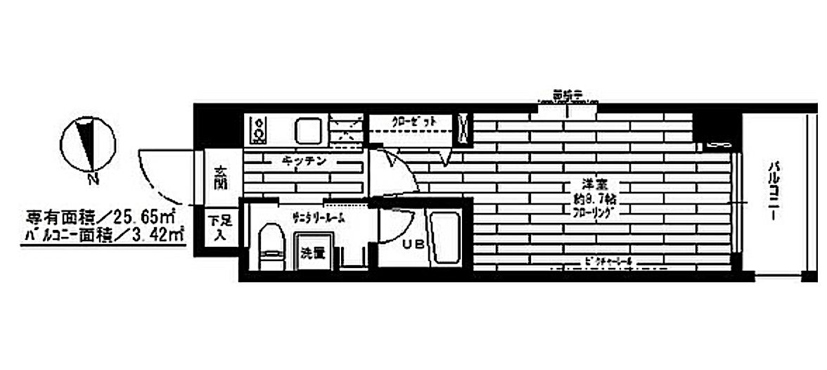 ステージグランデ神楽坂の室内(1K)