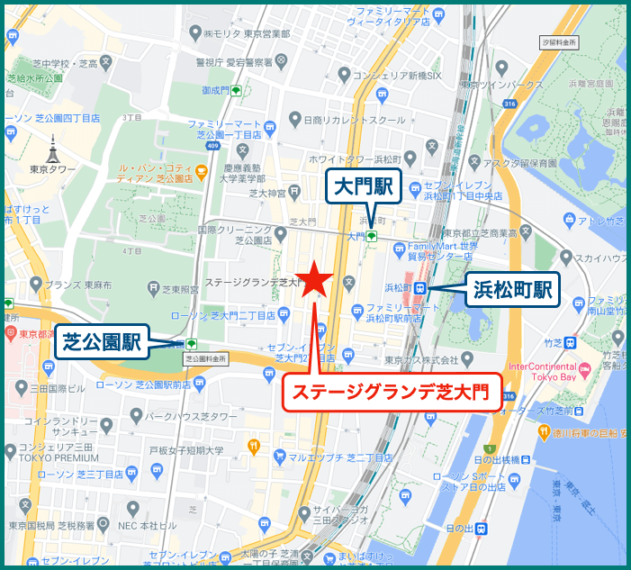 ステージグランデ芝大門の地図