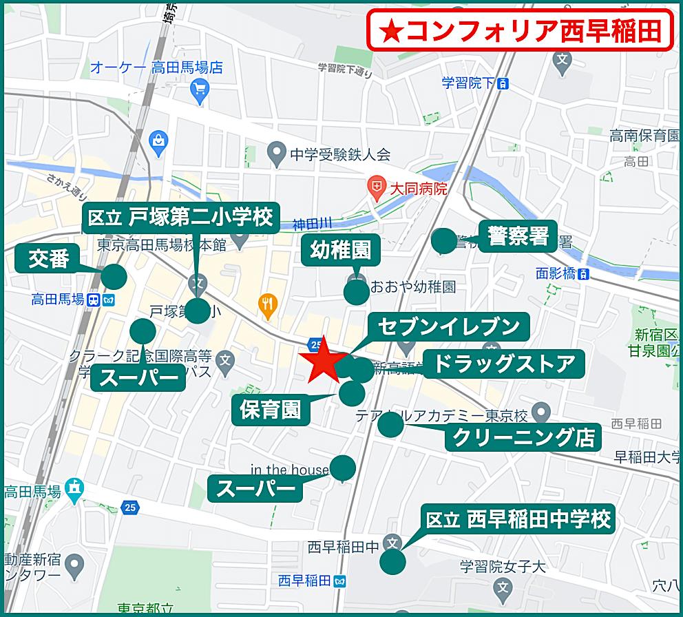 コンフォリア西早稲田の周辺施設