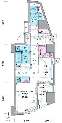 ジェノヴィア新宿早稲田グリーンヴェールの間取り(1LDK)