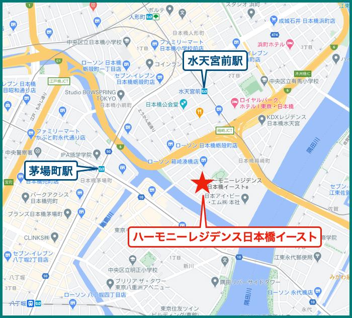 ハーモニーレジデンス日本橋イーストの地図