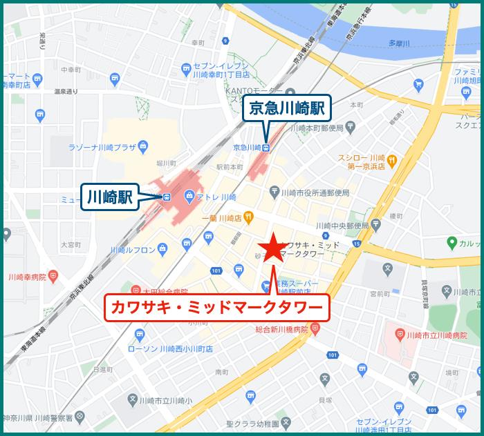カワサキ・ミッドマークタワーの地図
