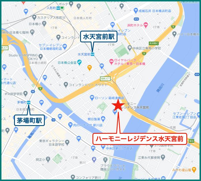 ハーモニーレジデンス水天宮前の地図