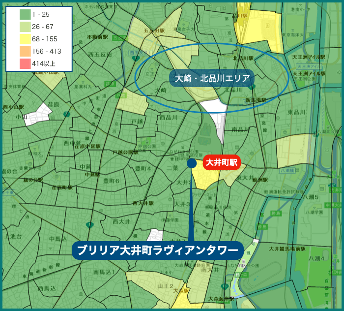 ブリリア大井町ラヴィアンタワーの犯罪マップ
