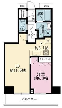 ザ・パークハウス新宿タワー1LDK間取り