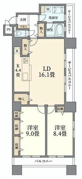 コスモ東京ベイタワー2LDKの間取り