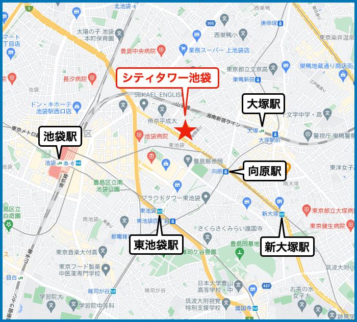 シティタワー池袋の地図