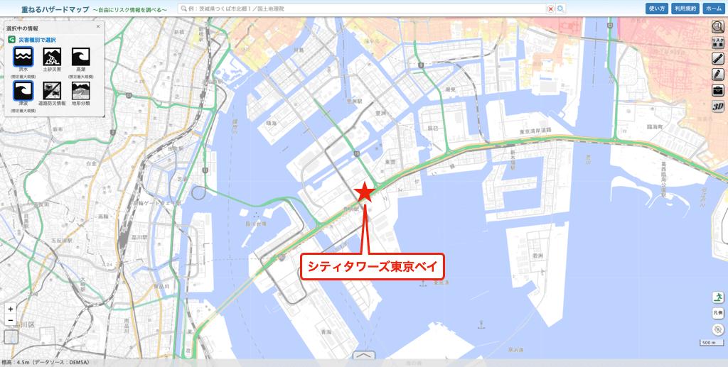 シティタワーズ東京ベイのハザードマップ