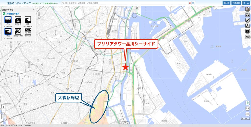 ブリリアタワー品川シーサイドのハザードマップ