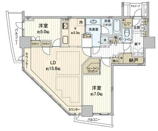 セントラルレジデンス新宿シティタワー2LDKの間取り