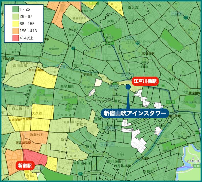 新宿山吹アインスタワーの犯罪マップ