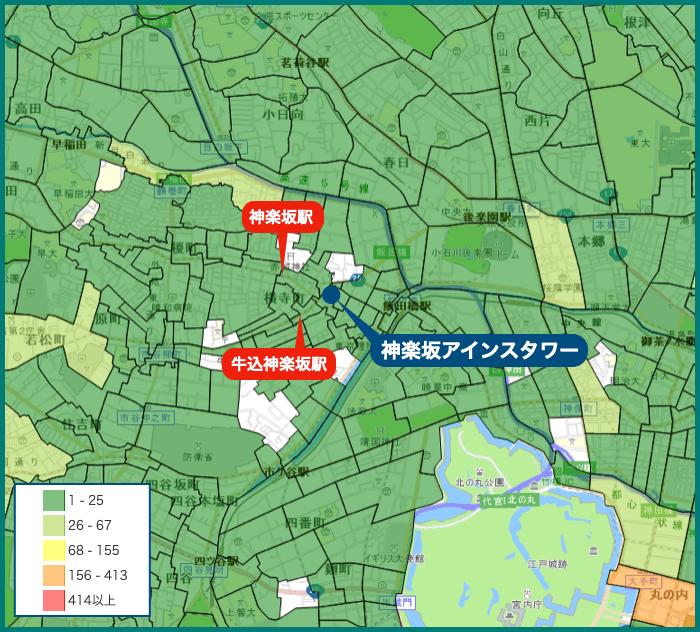 神楽坂アインスタワーの犯罪マップ