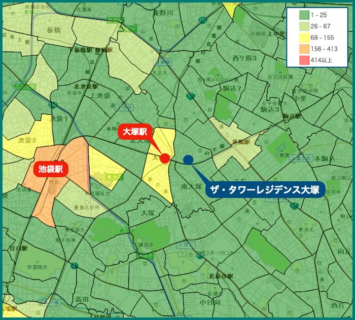 ザ・タワーレジデンス大塚の犯罪マップ