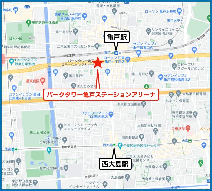 パークタワー亀戸ステーションアリーナの地図
