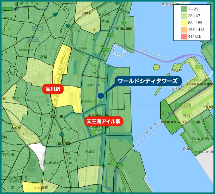 ワールドシティタワーズの犯罪マップ