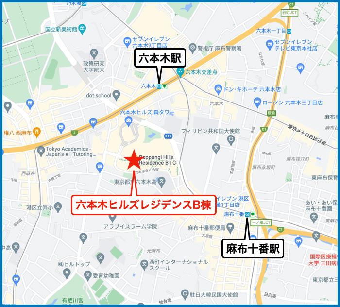 六本木ヒルズレジデンスの地図