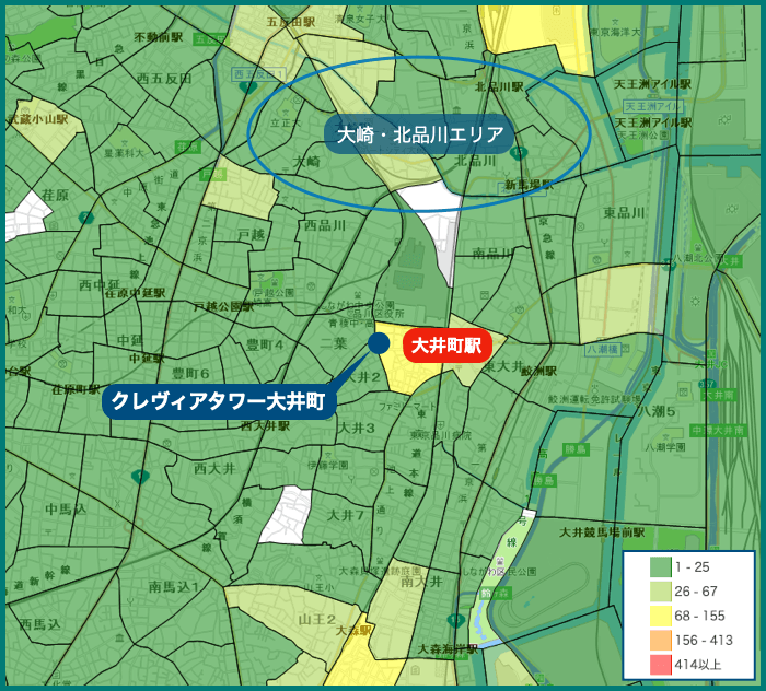 クレヴィアタワー大井町ザ・レジデンスの犯罪マップ