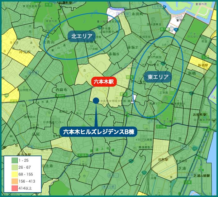 六本木ヒルズレジデンスの犯罪マップ