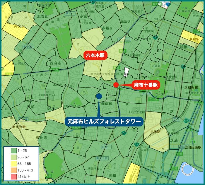 元麻布ヒルズフォレストタワーの犯罪マップ